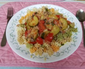 Italian Squash with Vegetables Served on Pasta